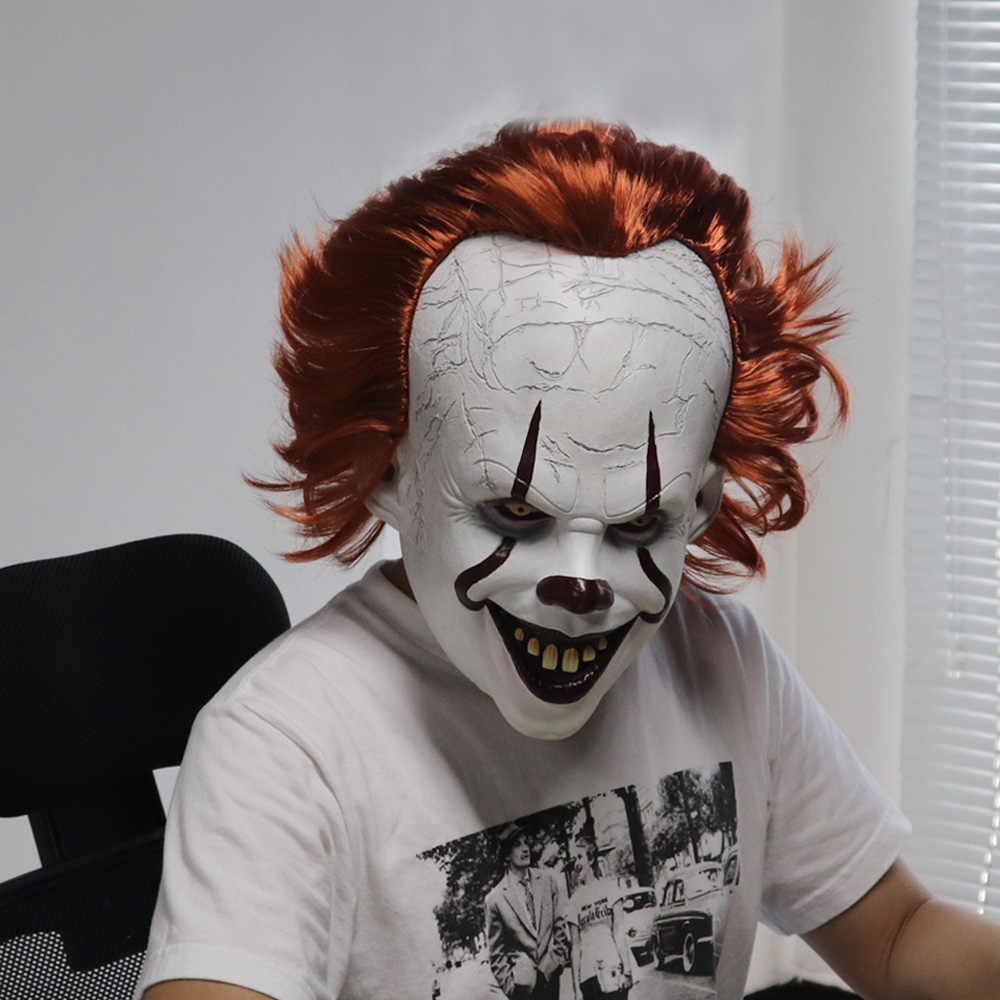 Joker-masque Pennywise Stephen King It Chapter Two 2 horreur Cosplay, masques en Latex de Clown Halloween, accessoire de Costume pour fête 2019