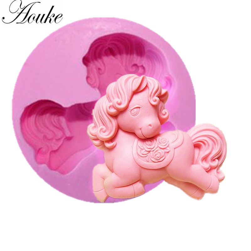 1PCS Horse shower party fondant molds,silicone mold soap,candle moulds,sugar craft tools,chocolate moulds,bakeware G022