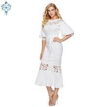 Ameision Elegant Long Dress Women White Lace Slash Neck Mermaid Dresses Sexy Hollow Lace-Up Bodycon Party Maxi Vestidos