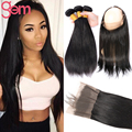 New Pre Plucked 360 Frontal Closure with Hair Bundles Peruvian Virgin Hair Straight 3Pcs with Closure Lace Band of Baby Hair