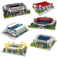 MOC Football Old Trafford Camp Nou Bernabeu San Sir Stadium Real Madrid Barcelona Club Diamond Building Nano Blocks Toy