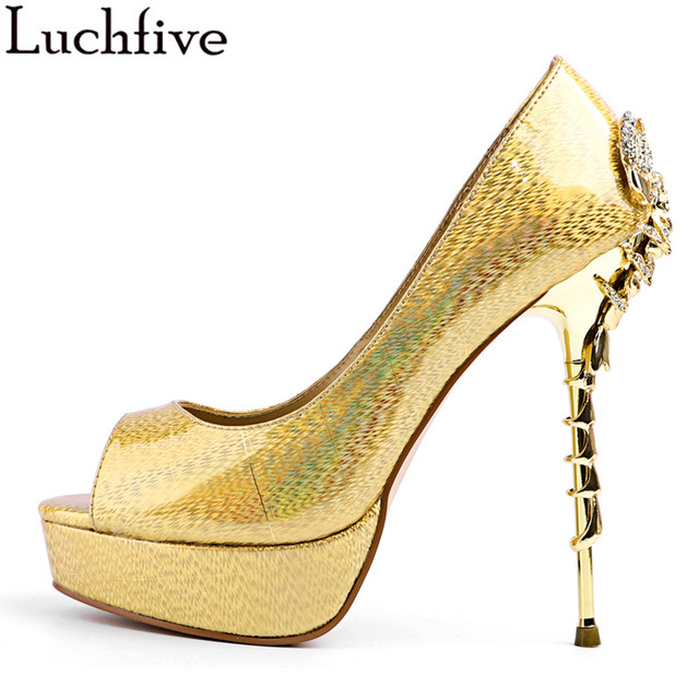14 cm super gold meatl high heels crab Women Pumps Fish scales snake skin  peep toe 1831743e2b66