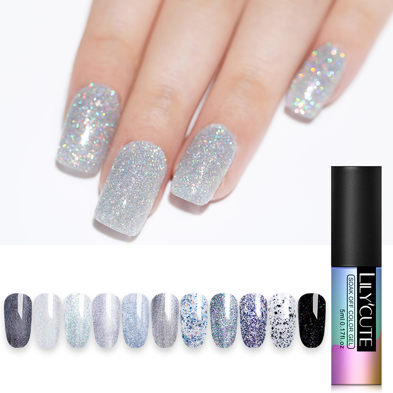 LILYCUTE 5ml Color Gel Polish Holographic Rainbow Glitter Sequins UV Soak Off Long Lasting Gel Polish Nail Art Varnish in Nail Gel from Beauty Health