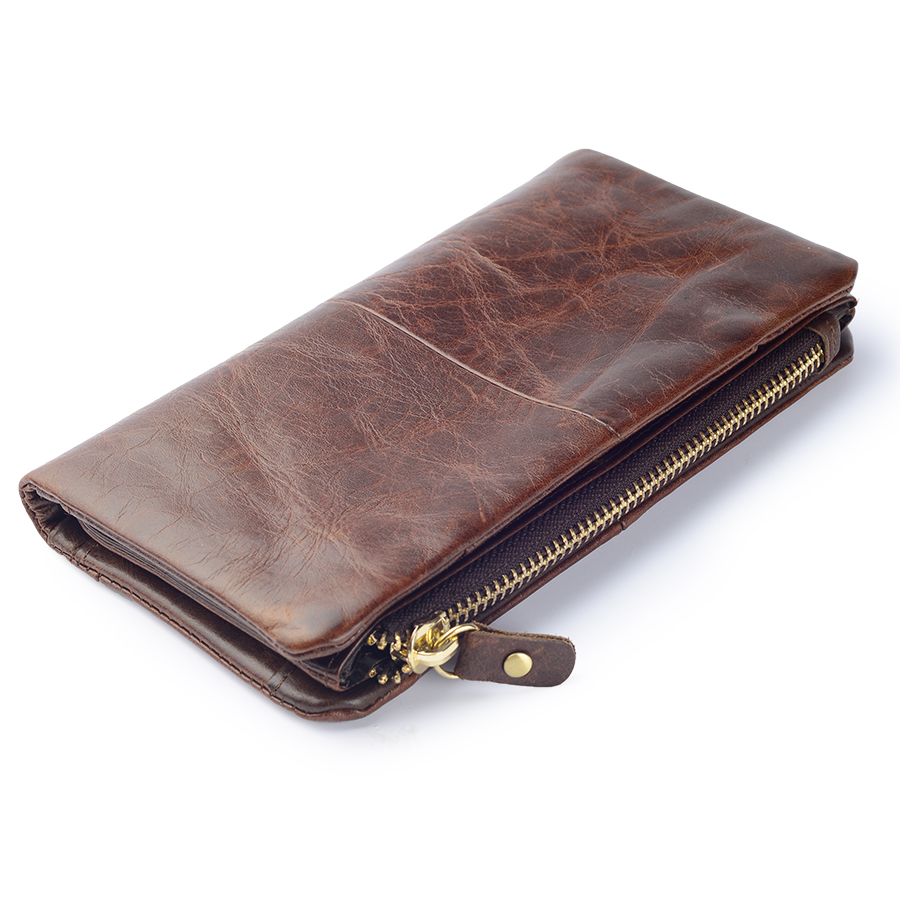Men Long Vintage Wallet Women Genuine Leather RFID Wallet Male Organizer Cell Phone Clutch Bag Coin Purse With Card Holder