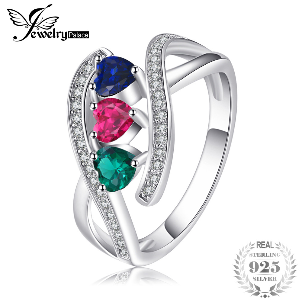 5988a8025b Detail Feedback Questions about JewelryPalace 1.0ct Created Ruby Created  Sapphire Simulated Emerald Cluster Ring 925 Sterling Silver Multicolor Ring  for ...