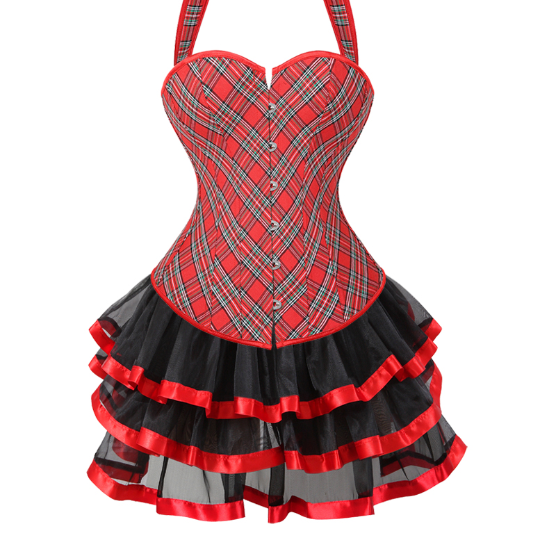 Women Plaid Corset Plus Size 6XL Lingerie Bustier Corsets Tops With Mini Skirt Trainer Gothic Clothing Free Shipping 604-3704