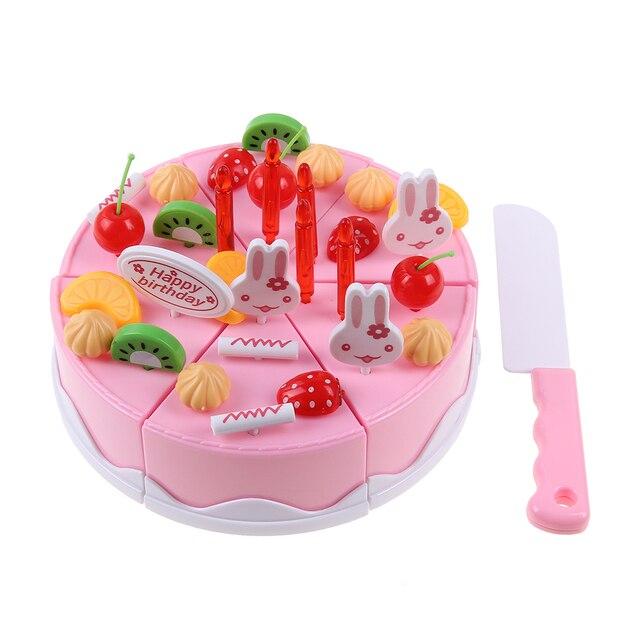 37 teile/satz Geburtstagstorte Spielzeug DIY Obst Schneiden Pädagogisches  Spielzeug Weihnachtsgeschenk Kinder Kinder Küchen Täuschen Rolle Spielen ...