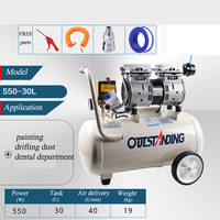 oilless piston compressor pump 100% copper motor dual action airbrush compressor painting compressor kit oilless air compressor