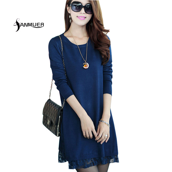 New Fashion 2017 Autumn Sweater Dress Loose Long-Sleeve O-neck Lace Women Dress Vestidos Women Wool Cashmere Clothing Plus size