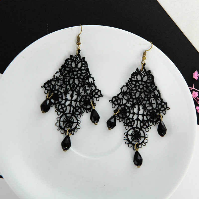 Hitam Renda Tetes Anting Retro Eropa Dan Amerika Aliexpress Hot Model Berlebihan Earrings Drop Earrings Untuk Wanita