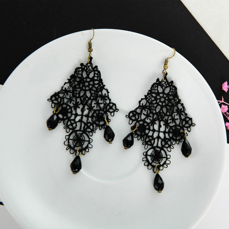 Black Lace Drops Retro Earrings European And American Aliexpress Hot Models Exaggerated Earrings Drop Earrings For Women fake rose flowers