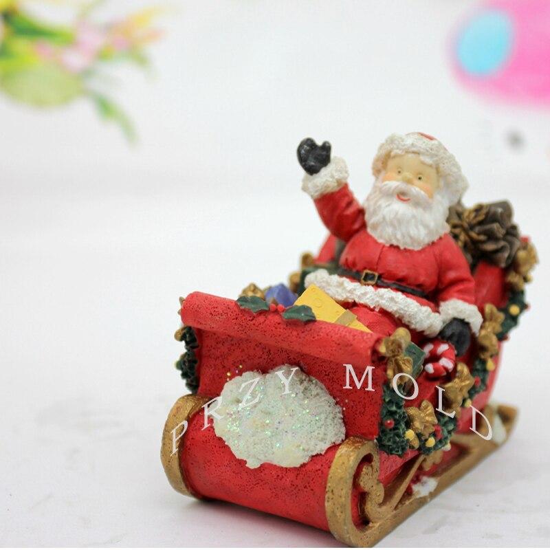 PRZY Silikagelu silikonová forma Vánoce 3d Sedící na sáňkování Santa Claus svíčky plísní formy mýdla pro domácí dekorace