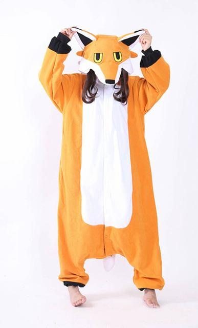 Кигуруми унисекс мистер Фокс Комбинезоны осень-зима Мягкая флисовая Пижама  животного Пижама для взрослых 3a83494a09d8a