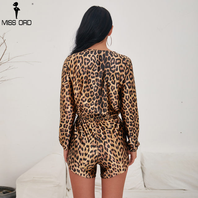 Missord 2018 Women Sexy Deep V Long Sleeve Rompers Leopard Print Female Elegant  Playsuit  FT9700