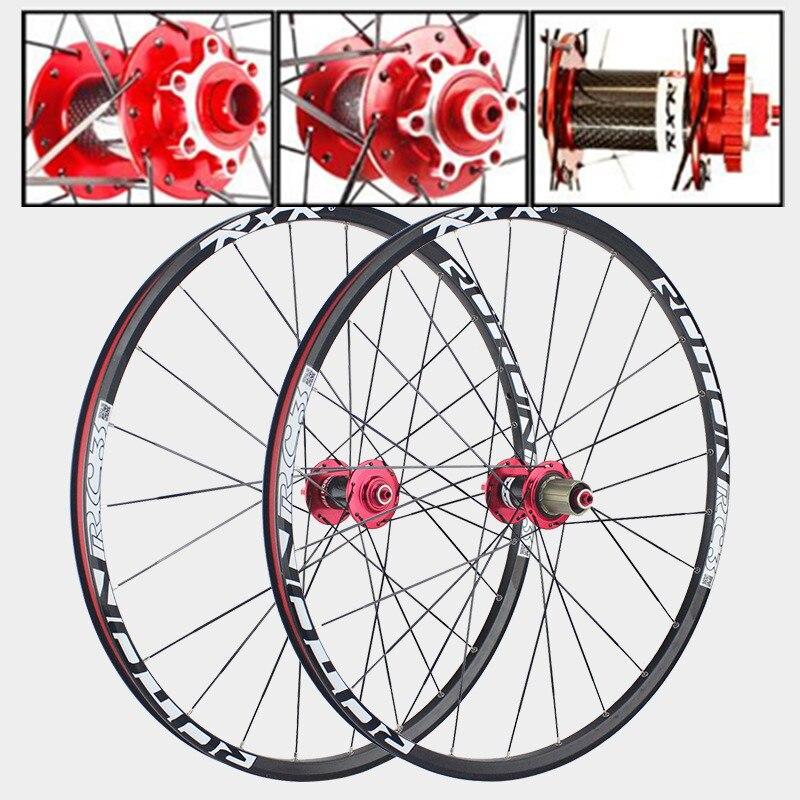 VTT vtt roulements en carbone scellés moyeu de tambour en Fiber 26 27.5 29 frein à disque roue de vélo 7/11 vitesses roues de vélo de route