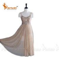 Золото Искра балетное платье 2 слоя мягкой тюль Bling юбка индивидуальный заказ современный танец платье для лирического танца профессиональ