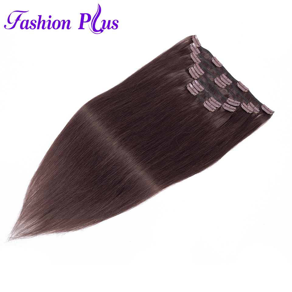 Fashion Plus Clip In Human Hair Extensions Brazil Hair Machine Made 7pcs/Set 120g Natural Straight Hair Clips In Extensions