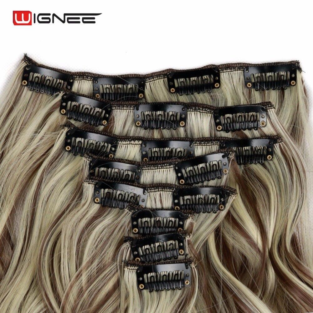 Wignee 8 pçs/set longo ondulado para as mulheres de alta temperatura cinza cabelo sintético natural cosplay hairpieces clip em extensão do cabelo