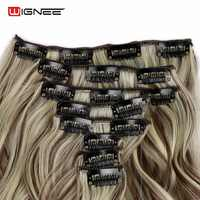 Wignee 8 unids/set largo ondulado para mujeres alta temperatura gris pelo sintético Natural Cosplay horquilla Clip en la extensión del pelo