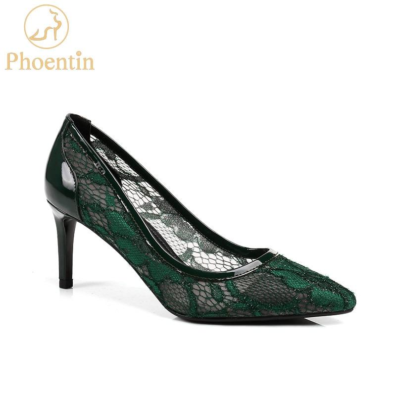 Phoentin สีเขียวตาข่ายสตรีรองเท้าส้นสูงแฟชั่น 2018 party รองเท้าผู้หญิงฤดูใบไม้ผลิฤดูร้อนของแท้หนัง patchwork สุภาพสตรีปั๊ม FT439-ใน รองเท้าส้นสูงสตรี จาก รองเท้า บน   1