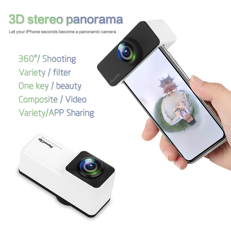 Newest Rectangle iphone 360 Degree Panoramic Camera Lens Full View Shot Dual Lense for Apple iPhone X 6 7 8 Plus Cellphone