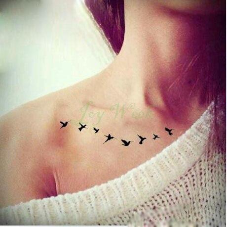 Impermeable Etiqueta Engomada Del Tatuaje Temporal Volar Aves De