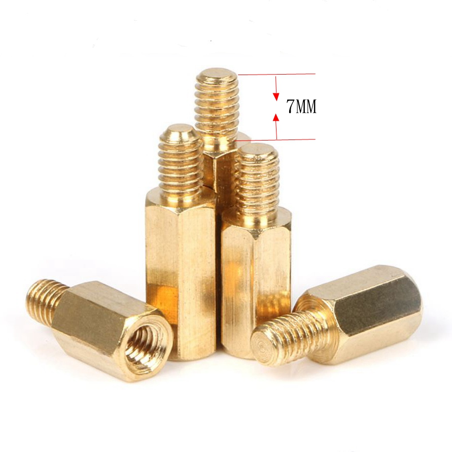 10PCS M5 Copper Brass Pillars Standoff Circuit Spacer PCB Board Nut Screws Hex Round Single Cylinder Head/Hexagon pillar special copper screws copper hexagon bolt copper outer hexagonal screws m16 80
