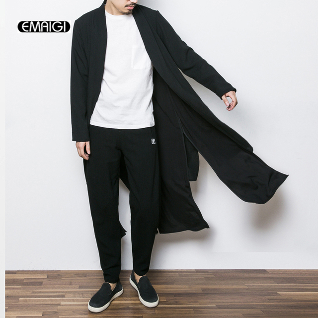 Men Long Kimono Cardigan Coat Male Punk Rock Style Fashion Casual ...