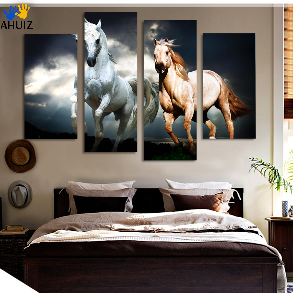 Framed Ready To Hang 4pcs Horse Painting Canvas Wall Art Picture Home Decoration Living Room Modern Painting Large Canvas D013