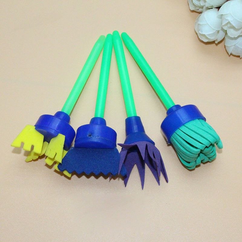 4pcs/lot Art Supplies for Kid Creative Flower Stamp Sponge Brush Set Drawaing Toys DIY Painting Tools Child AUTOPS