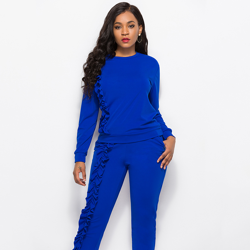 2019 Autumn New Solid Two Piece Sets Women Long Sleeve Round Neck Tops Trousers Ruffles Tracksuit Set 2 Piece Sets Ladies Suits 40