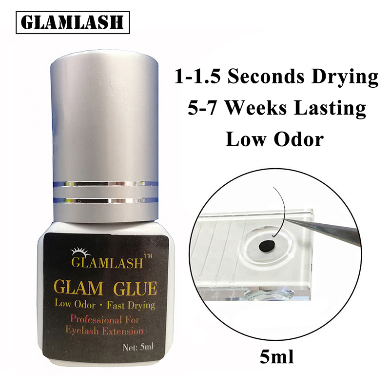 GLAMLASH 5/10ml 1 Seconds Lashes Glue Fast Drying Silver Cap Eyelash Extension Makeup Tool Adhesive