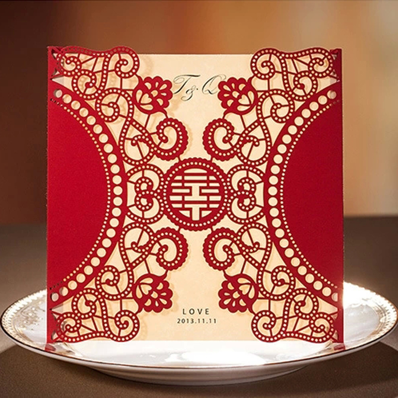 Wedding Invitations From China: (50 Pieces/lot)Standard Square Laser Cutting Invitation