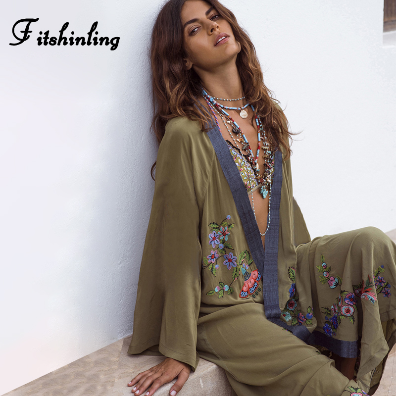 Fitshinling Flowers Embroidery Beach Kimono Holiday Army Green Vintage Swimwear Cover-Ups Long Sleeve Autumn 2019 Outer Cover