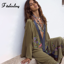 Fitshinling Flowers Embroidery Beach Kimono Holiday Army Green Vintage Swimwear Cover Ups Long Sleeve Autumn 2020 Outer Cover