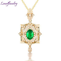 Solid 18Kt Yellow Gold Natural Oval Shape Emerald Pendant Necklace with Genuine Diamond Gemstone Loving Jewelry for Wife