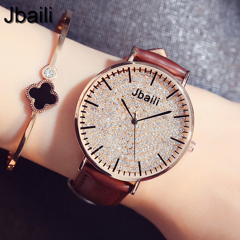 Fashion Simple Style Women Watches Leather Dress Bracelet Crystal Dial Elegant Ladies Dress Wrist Watch Quartz relogio feminino high quality fashion women quartz watches simple design round dial pu leather watchband elegant ladies casual watch best gift