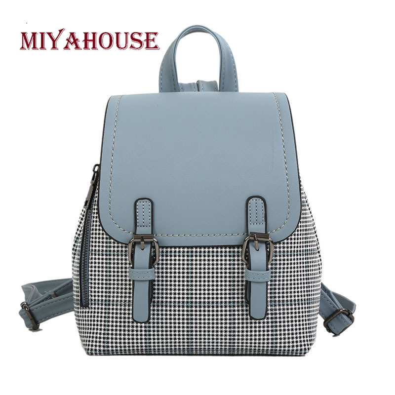 Miyahouse Korean Style Women Backpacks Female Summer New Hit Color Plaid Pattern Travel Rucksacks Teenager Girls School Bag