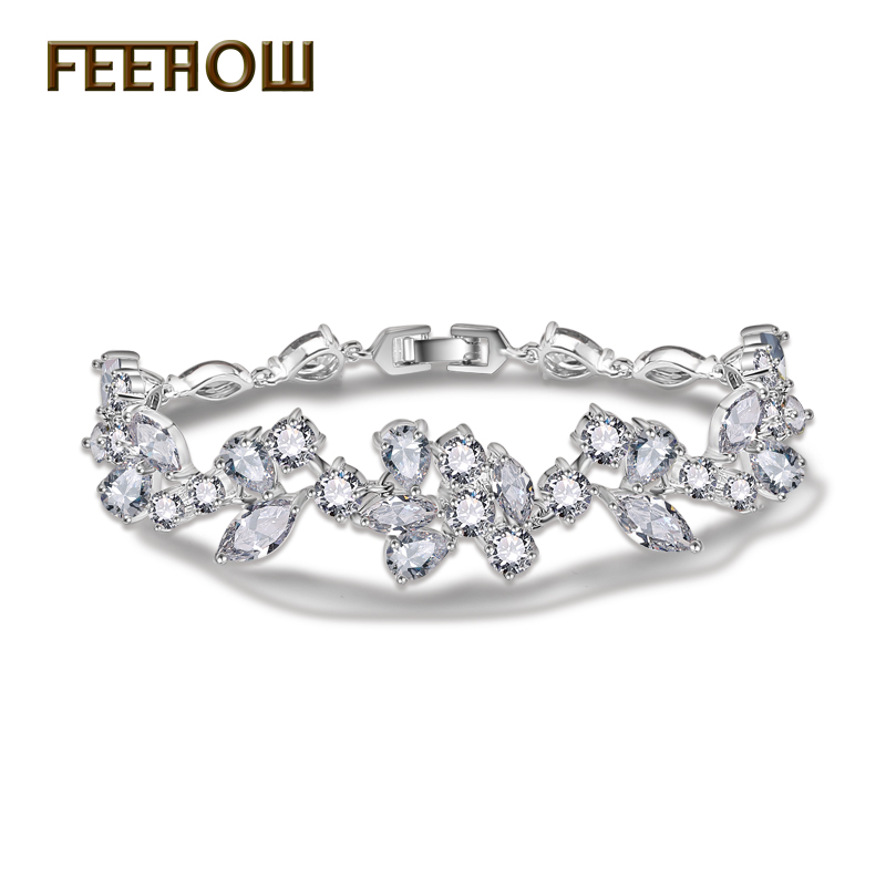 FEEROW 3 Color Choice Marquise Round Pear Shape AAA Cubic Zirconia Women Bangle FWBP014