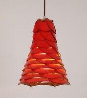Novelty romatic red shade Ply Wood chips pendant lights handmade indoor E27 led lamp for living room&corridor&pavilion BT293