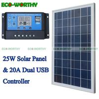 ECOworthy solar energy system: 25W Polycrystalline Solar power Panel & 20A PWM Solar Charge Controller Ruglator for 12V battery