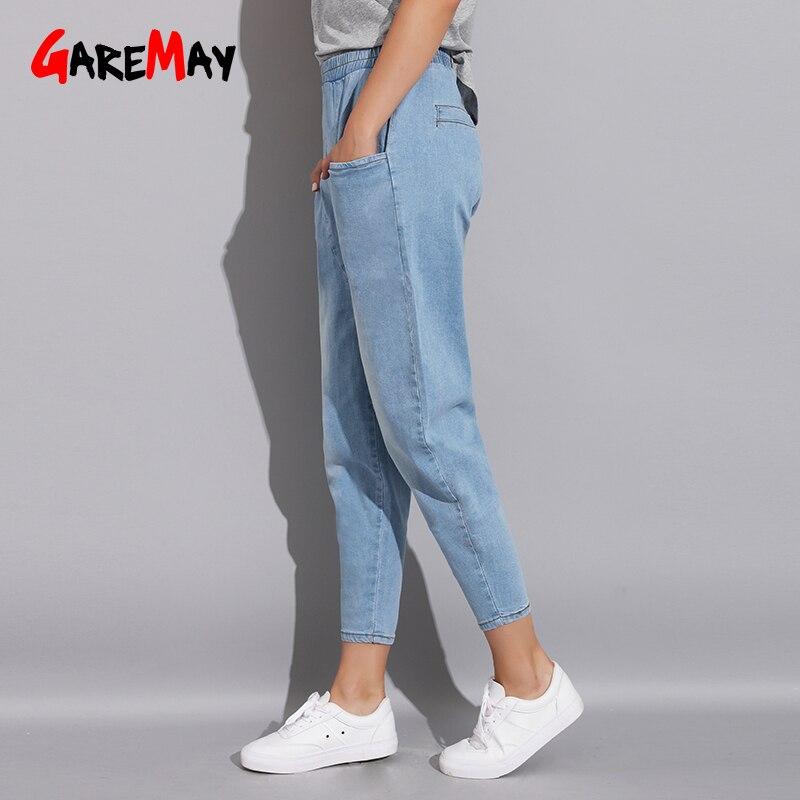 0f051e5a91 Azul Moda Blue Denim Literario Flojo Pantalones Jeans Novio Tamaño 2018  Harem Mujer Vintage Otoño Más ...