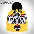 CLIMA 2017 Nuevo Resorte de La Manera Caliente de Impresión 3D Pokemon Pikachu Sombrero Chica Mujeres Pompón Skullies Gorros Única Suave Sombrero hecho Punto