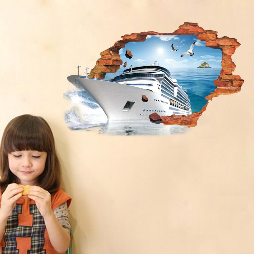 Home Decor 3D Cartoon Wall Stickers Mural Decal Quotes Art Home Decor wall sticker Home Deco mirror AU1
