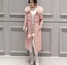 Korea Latest Fashion Women Winter Coat Hooded Fur collar Thick Warm Duck down Down jacket Slim Big yards Leisure Long Coat G2341