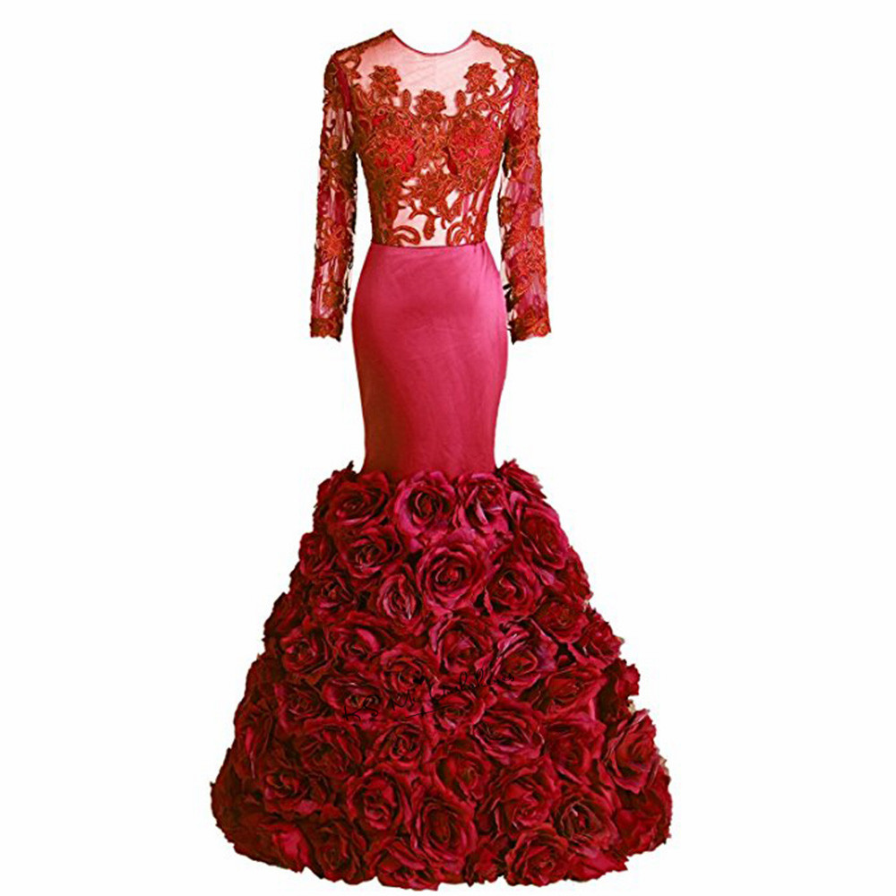 Sexy Purple Dark Red Formal Evening Gowns Long Sleeve Lace Evening Dress Flowers Mermaid Prom Dresses 2018 Open Back Vestidos