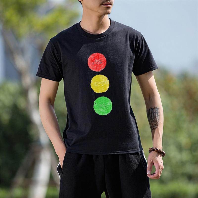 2017 Best Gift For Friend Traffic Light Funny Cotton T Shirt for men