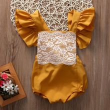 2017 Summer Ruffle Baby Girls Clothes Yellow Lace Sleevless Backless One pieces Romper Jumper Jumpsuit Outfit