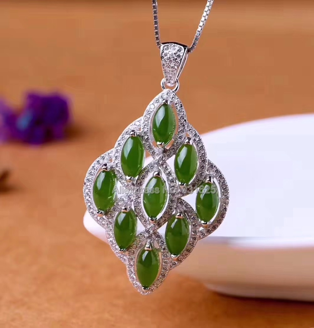925 silver Natural Green HeTian Yu Beads Gem Inlay Handmade Rhombus Style Lucky Pendant Necklace + certificate Fashion Jewelry925 silver Natural Green HeTian Yu Beads Gem Inlay Handmade Rhombus Style Lucky Pendant Necklace + certificate Fashion Jewelry