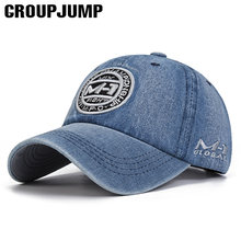 Group Jump High Quality Snapback Cap Demin Baseball Cap 5 Color Jean Embroidery Hat For Men Women Boy Girl Cap Gorras Bone(China)